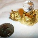 SPOONTIQUES FIGURINE GOLDPLATE CAT W/SWAROWSKI CRYSTAL BALL 1983