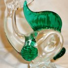 VINTAGE HAND BLOWN ARTE MURANO ICET GLASS GREEN CLEAR FISH FIGURINE PAPERWEIGHT