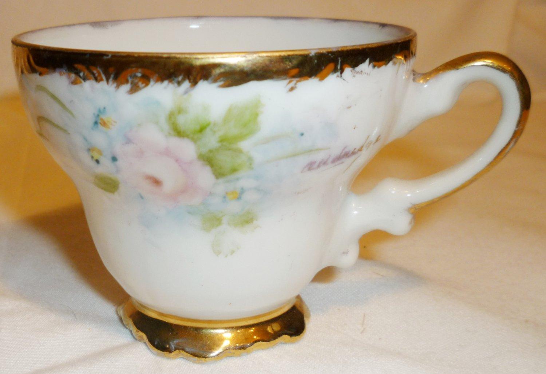 VINTAGE DEMITASSE HANDPAINTED SIGNED PORCELAIN COFFEE CUP