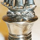 VINTAGE ANTIQUE SILVER BOTTLE STOPPER FIGURINE SAILBOAT GERMANY