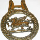 VINTAGE SOLID BRASS HORSE SADDLE HARNESS BRASS MEDALLION DRAGON