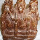 THREE WISE MONKEY HEAR SEE SPEAK NO EVIL CARVED FIGURINE