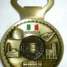 TRAVEL MEMORABILIA GENOA ITALY SOUVENIR REFRIGERATOR MAGNET BOTTLE OPENER BRONZE