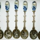 UNIQUE VINTAGE ELESVA HOLLAND EMBOSSED & DELFT PORCELAIN CLOG SET/6 SPOONS