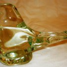 VINTAGE FENTON GLASS BIRD ON A NEST FIGURINE CLEAR W/GREEN
