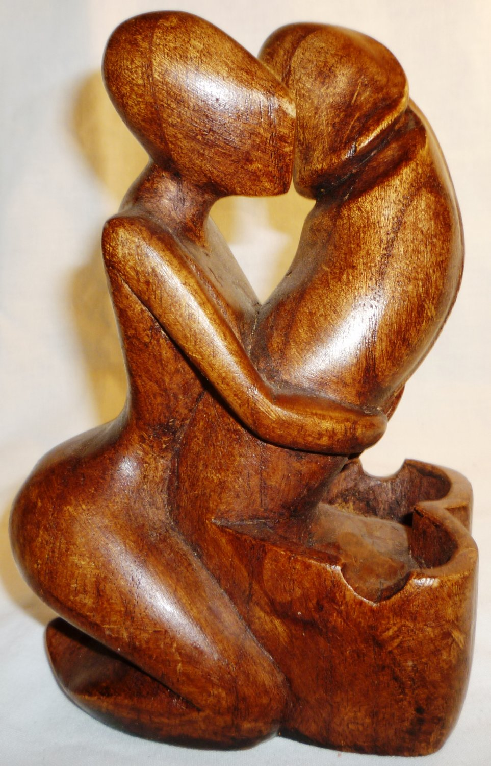 AFRICAN ART HANDCARVED WOOD ASHTRAY EROTIC FIGURINE WOMAN EMBRACES PENIS
