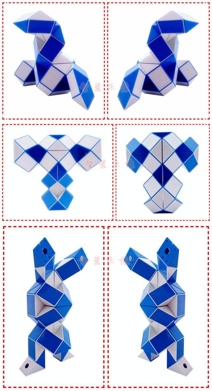 Конструкция игрушки довольно незамысловата: она состоит из 24 равнобедренных треугольных призм, соединенных между собой шарнирами.