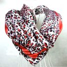 5 PCS Red Leopard Dots Print Big Square Satin Silk-like Satin Scarf 90*90cm Gift