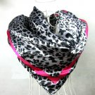 5 PCS White Leopard Dots Print Big Square Satin Silk-like Satin Scarf 90*90cm Gift