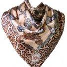 5 PCS Womens Leopard Dots Print Big Square Satin Silk-like Satin Scarf 90*90cm