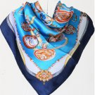 5 PCS Womens Pocket Watch Print Big Square Silk-like Satin Scarf Wrap Kerchief 90*90cm