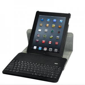 Protective Case for iPad 2 and New iPad with 360 Degree Rotation And Bluetooth Keyboard