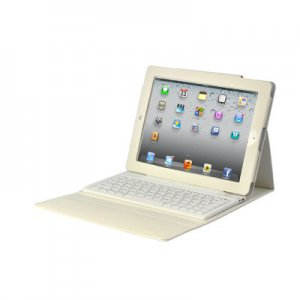White iPad 2/3 Case with Spillproof Bluetooth Keyboard