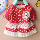 J6 Baby Girl Cotton Dots Lace Ruffle Outfit Jacets Coats 6-12-18-24-36 Months