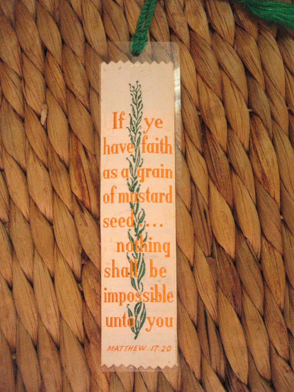 Vintage Weve-A-Gift Silk Woven Bookmark Bible Bookmark Matthew 17 20