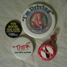 Vtg 80s Anti Drunk Driving Campaign Pins Designated Driver Button You Booze You Lose SADD MADD