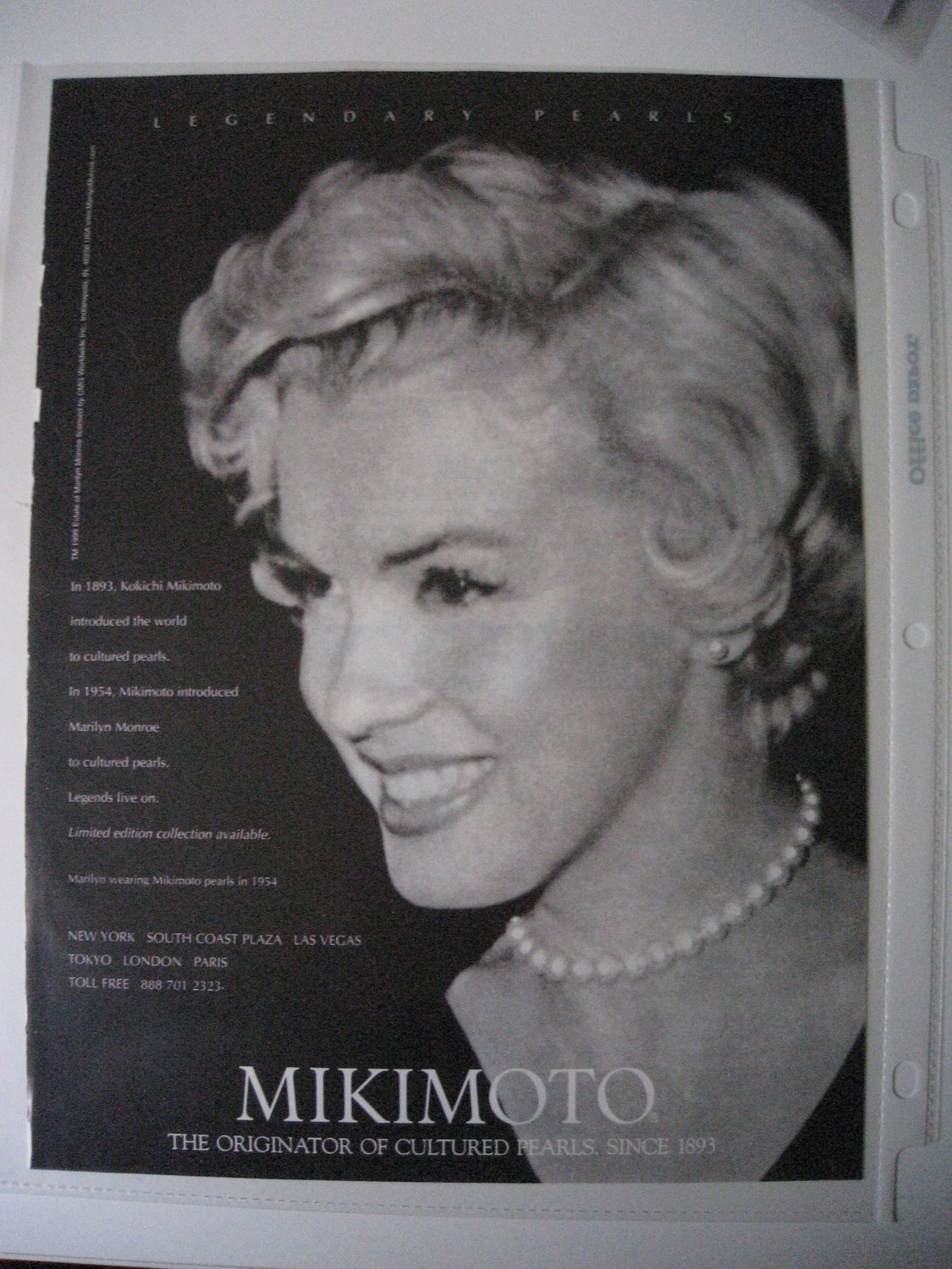 Ad 1999 Ad of Marilyn Monroe Wearing Mikimoto Pearls in 1954 Legendary Pearls