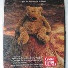 Ad Vintage Gund Teddy Bear Schlepp