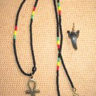 Ankh Beaded Marley Necklace and Authentic Gold Wire Shark Tooth Charm