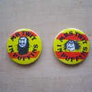 VINTAGE 80s London Button Badges Mr Twit and Mrs Twit Pinbacks Roald Dahl Characters Unique