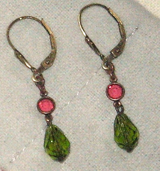 NEW Liz Palacios Earrings Dangle Pink Green Swarovski Crystal Bronzed Sterling