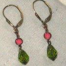 NEW Liz Palacios Earrings Dangle Pink Green Swarovski Crystal Bronzed Sterling