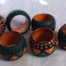 New Napkin Rings Set of Six Handpainted Tribal Ethnic Bohemian Tableware