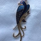VINTAGE Signed Fish and Crown Brooch Cloisonne Enamel  Bird of Paradise Peacock Enamel Pin Jewelry