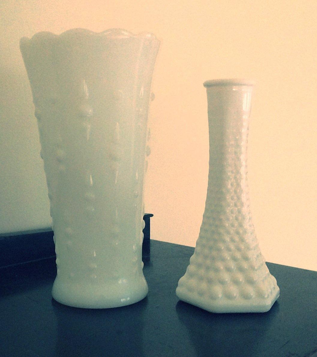 Two Vintage White Hobnail Milk Glass Vases Brody Anchor Hocking Lot