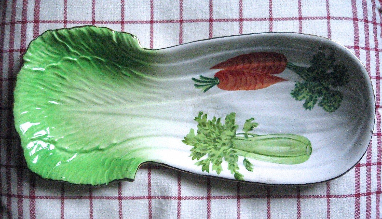 Mid Century Plate 1950s Celery Shape Serving Dish Spoon Rest