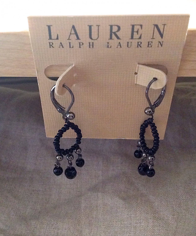 Ralph Lauren Earrings and Bracelet Black Crystal Multi Faceted Lauren Jewelry Elegant Estate Look