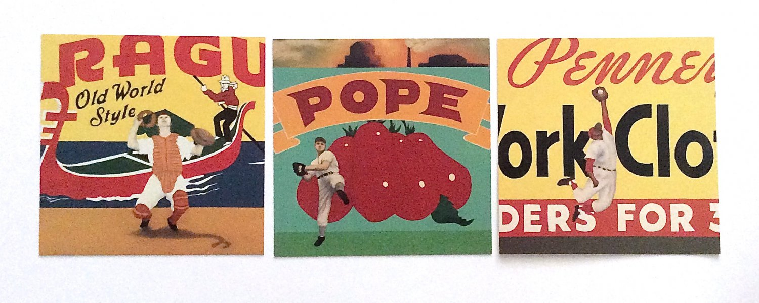 BASEBALL ART Vincent Scilla Grouping of 3 Card Prints Vintage Sport Painting