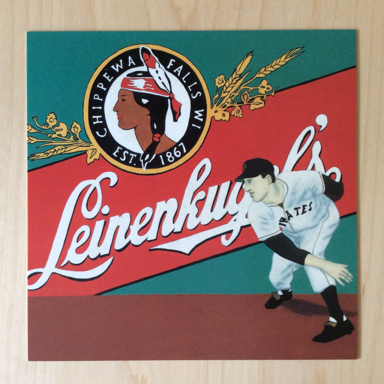 BASEBALL ART Card Prints LEINENKUGELS BEER CHIPPEWA FALLS WISCONSIN Vincent Scilla Sport Painting