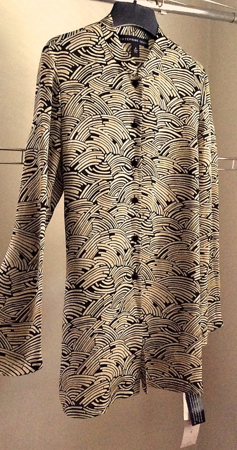 NEW Silk Tunic Blouse Top Mandarin Collar Knot Button Front Sophisticated