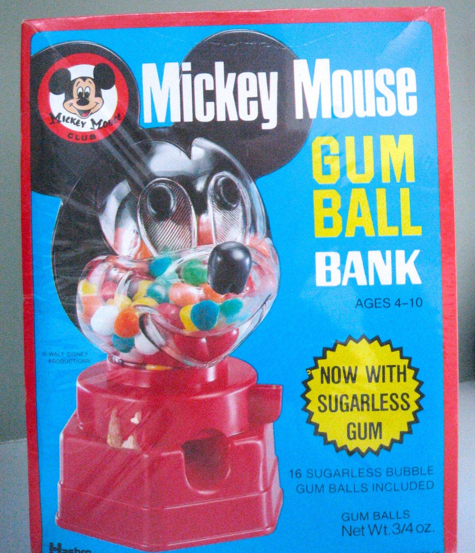 Vintage 70s HASBRO Walt Disney Mickey Mouse Gum Ball Dispenser Bank UNIQUE Sugarless Gum Packaging