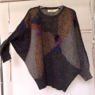 Authentic 80s VINTAGE Sweater Oversize Dolman Bat Sleeve Texture Knit Front