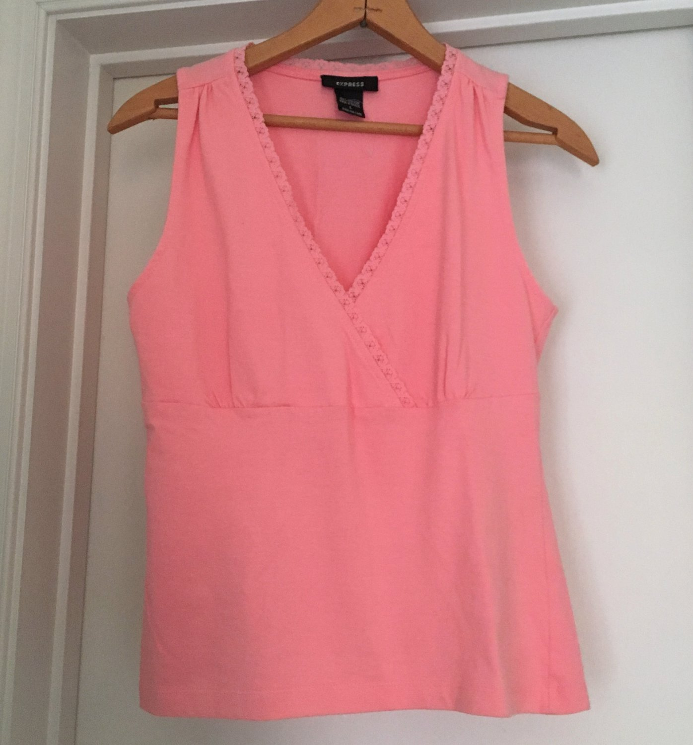 Crop Sleeveless Tank Criss Cross V Neck Empire Cut  Coral Pink New Vintage 1990s Stock Cropped Top