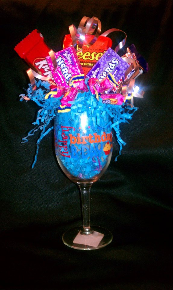 Wine Glass Candy Bouquet