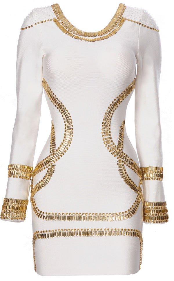 Sass white crystal embellished bandage bodycon dress