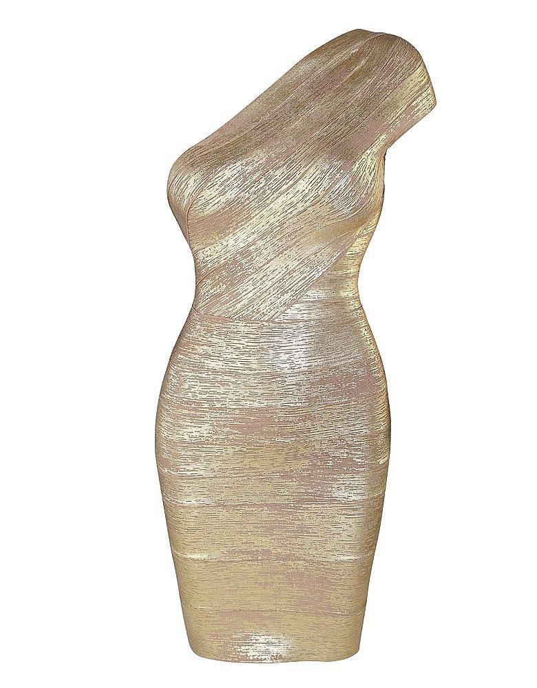 Cloverl Billie Faier Golden Foil print look one-shoulder bandage dress