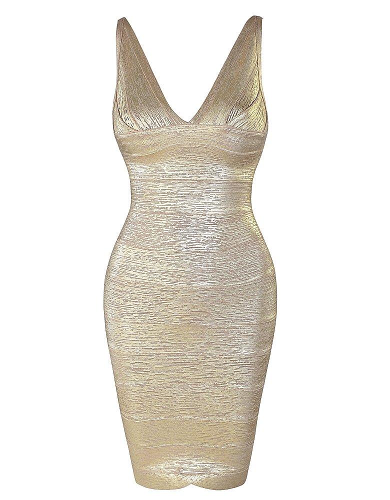 Cloverl Eileen Foil Print Deep V Bandage Dress