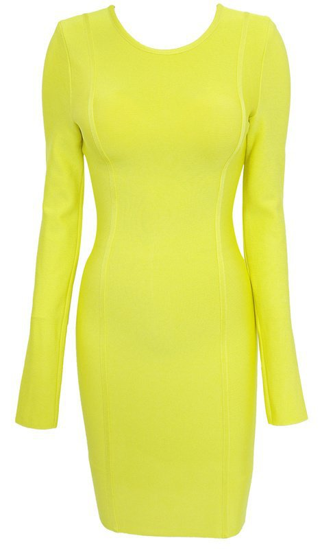 Cloverl  Carly Lime Green Long Sleeve Bandage Dress----Send by FedEx,extra