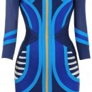 Cloverl Mercy Blue Tribal Mesh Mid Sleeve Bandage Dress