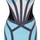 Cloverl Lara Blue Tribal Mesh Mid Sleeve Bandage Dress