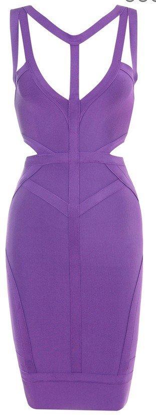 Cloverl Sierra Purple Cut-out bandage Dress--free global shipping