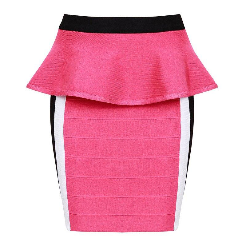 Cloverl Gabbie Pink Peplum Bandage Dress FREE GLOBAL SHIPPING
