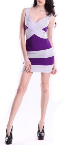 Cloverl Demi Stripy Bandage Dress--Two colors