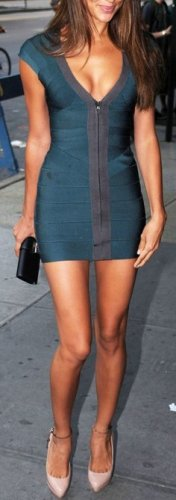 Cloverl Bianca Deep V Bodycon Bandage Dress  Free Global Shipping