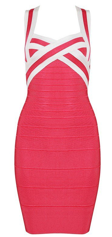 Cloverl Federica Stripy Strapy Bandage Dress Free Global Shipping