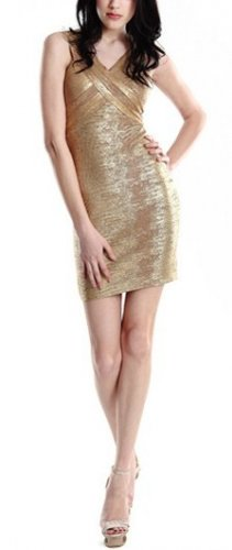 Cloverl Malia Golden Foil Print Strappy Bandage Dress Free Global Shipping